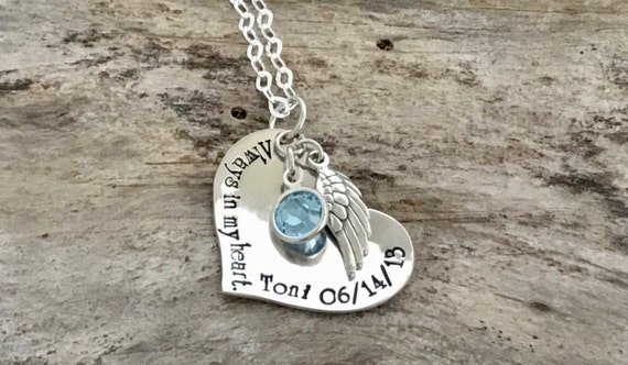 Personalized Memorial Gift, Sympathy Gift, Sterling Silver, Angel Wing, Heart, Custom Jewelry, Personalized Jewelry, Custom Necklace
