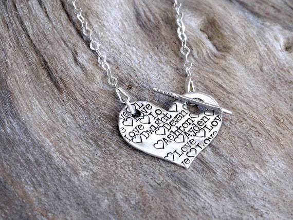 Heart Name Necklace, Heart Pendant Necklace, Name on Heart, Sterling silver Hand Stamped Name Necklace, Custom Name Necklace, Arrow Necklace