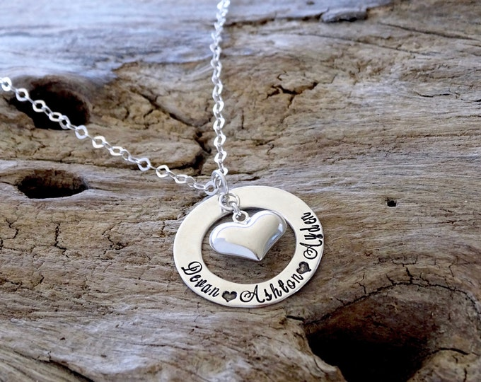 puffy heart necklace - heart necklace - heart jewelry - sterling silver - heart name necklace - sterling heart - heart pendant - heart