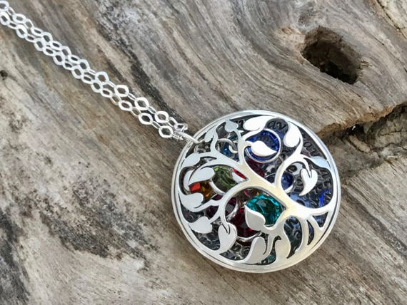 Grandmothers Birthstone Necklace, Sterling Silver Family Tree Birthstone Locket Necklace, Birthstone Jewelry, Christmas Gift For Grandma