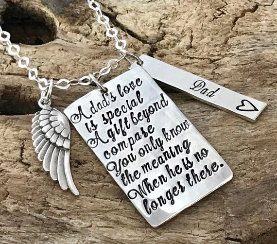 A dad's love is special, Loss of Daddy, Grieving loss of dad, Dad sympathy Gift, Dad sympathy necklace, In loving memory of Dad, Father