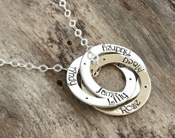Mom Necklace, Three Names, Three Rings, Personalized jewelry, Hand Stamped, Sterling Silver, Name Necklace, Mother Necklace with Names