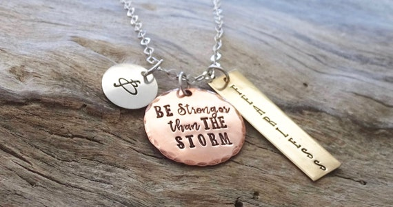 Be The Storm, Inspirational Jewelry, Warrior Quote, Inspiration, Gift For Her,  Breast Cancer,  Gift for Him, Motivational Jewelry