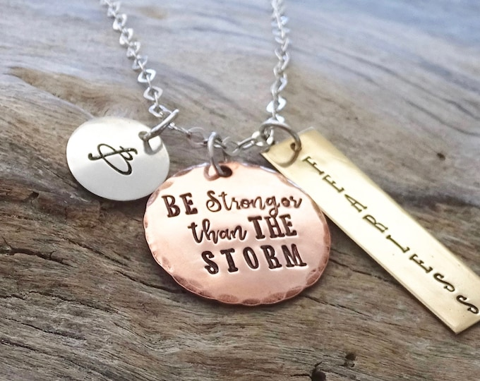 Be The Storm • Inspirational Jewelry • Warrior Quote • Inspiration • Gift For Her • Breast Cancer • Gift for Him • Motivational Jewelry