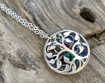Mother's Day Birthstone Necklace, Silver Tree Necklace, Personalized Name Necklace,Tree of Life, Gift for Mom, Birthstone Family Tree Locket