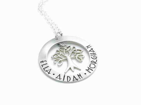 Celtic Family Tree of Life Necklace, Sterling Silver, Celtic Tree Pendant, Celtic Tree Jewelry,