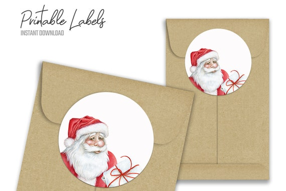 Secret Santa Sticker Labels Digital Christmas Printable Tags Etsy