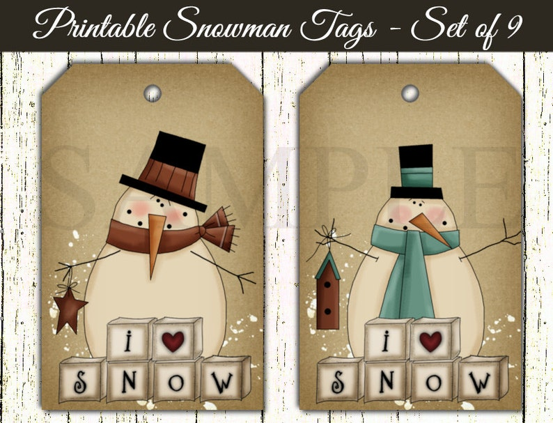 photograph relating to Printable Kraft Tags called Printable Xmas Snowmen Tags - Electronic Kraft Tags - Primitive Snowman - I Enjoy Snow