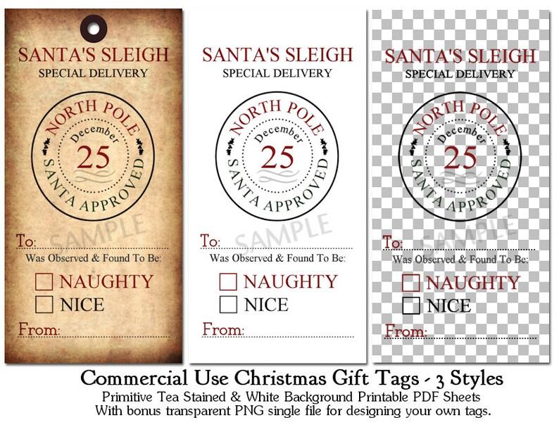 CU OK Primitive Naughty or Nice Printable Christmas Tags CU4CU Tea Stained