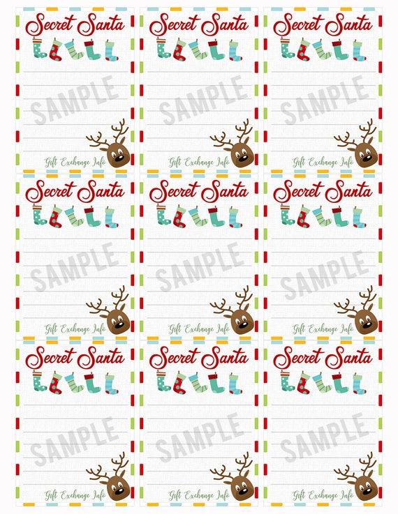 Secret Santa Gift Exchange Printable Pdf Christmas Party Gift List Christmas Stocking Reindeer