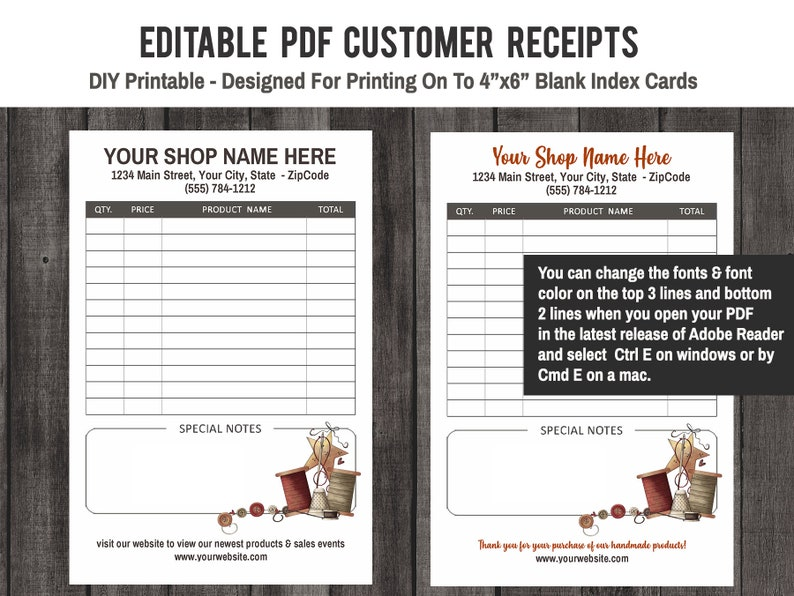 picture regarding Printable Sales Receipt Pdf named Editable PDF Consumer Profits Receipt Printable - Print upon in direction of 4x6 Inch Blank Index Playing cards - Electronic Receipts - Craft Present Products - Affordable