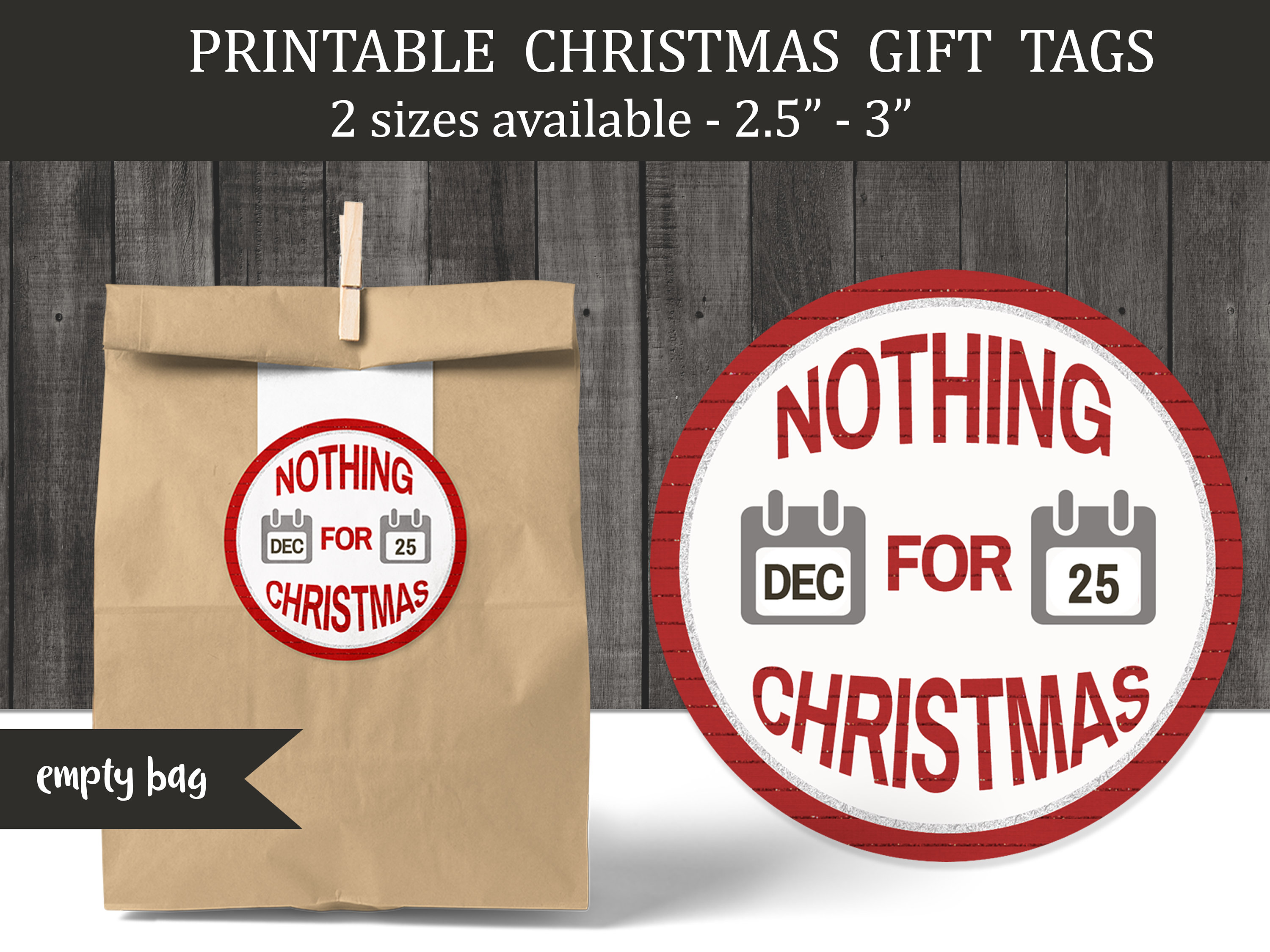 Funny Nothing For Christmas Printable Round Gift Tags | Etsy