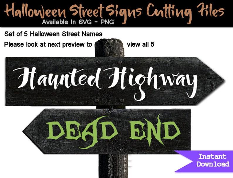 d58f69da2a03 Calle signo de Halloween nombres SVG archivos corte conjunto