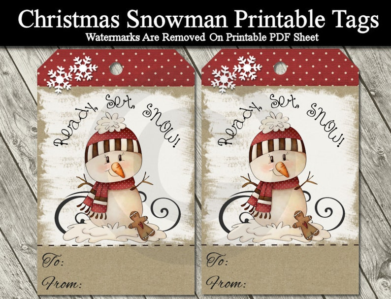 photo regarding Printable Kraft Tags named Printable Xmas Snowman Present Tags - Electronic Kraft Tags - Primitive Snowman
