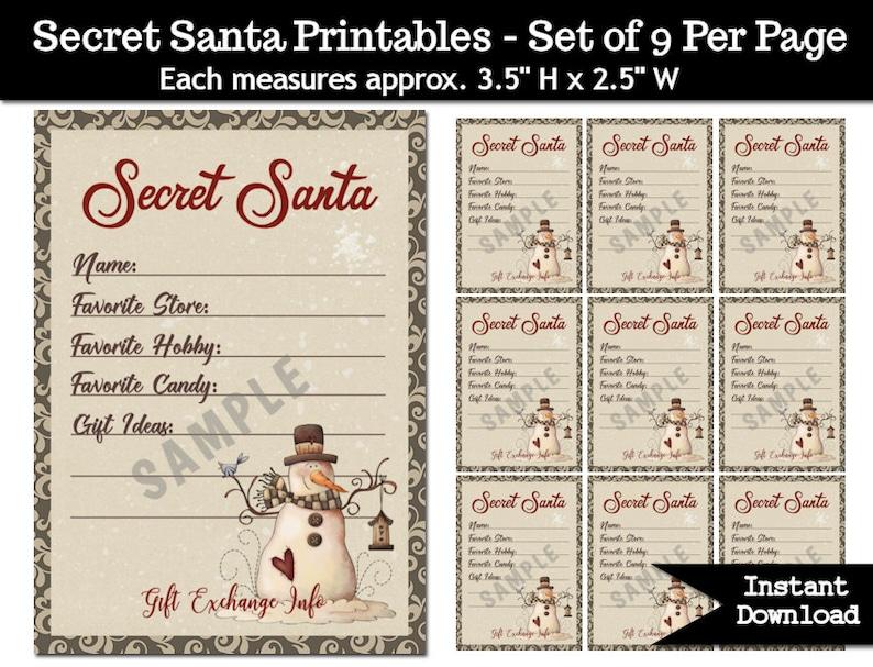 picture about Secret Santa Cards Printable referred to as Key Santa Reward Replace Printable PDF - Xmas Get together - Present Checklist - Primitive Snowman - Place Snowmen