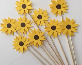 24 pcs yellow sunflower on a skewer birthday party bridal shower wedding table decor companys event