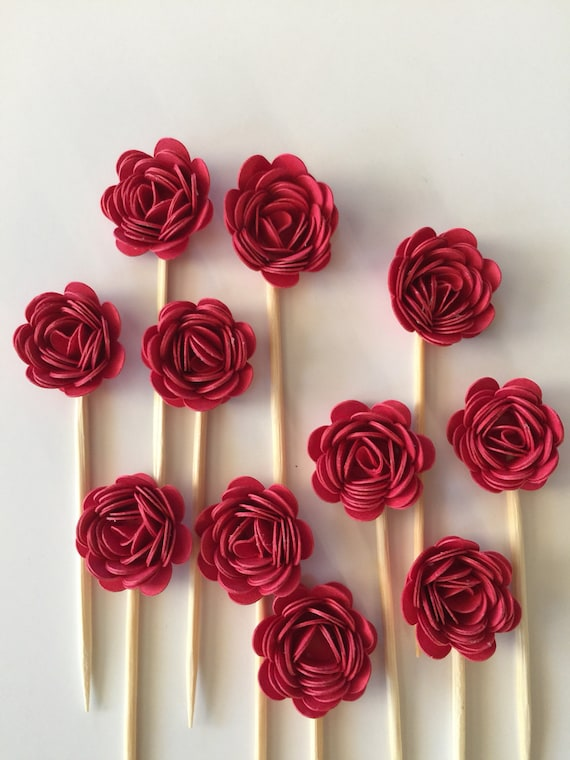 24 Pcs 3d Red Rosettes Cupcake Toppers Birthday Party Etsy
