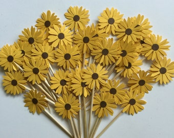 25 Pieces YELLOW Daisy Cupcake Toppers, Birthdays, Party Decor, Weddings, Bridal Showers