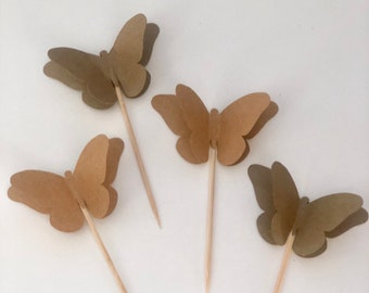 24 Pieces Kraft Butterfly Cupcake Toppers - Birthdays, Party Decor, Weddings, Showers