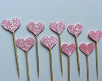 30 PCS PINK Glitter Heart Party Picks, Toothpicks, Cupcake Toppers, Food Picks