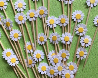 30 Pieces Mini White Daisy Cupcake Toppers, Birthdays, Party Decor, Weddings, Bridal Showers