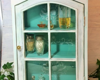 Shabby Cabinet has Glass Pane Door White Turquoise Cabinet Damask Interior Distressed Curio Wall Mount Display Cabinet Cottage Chic Case & Wall curio cabinet   Etsy