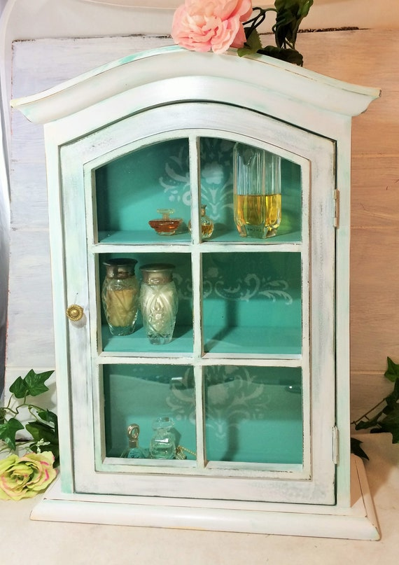 Shabby Cabinet Has Glass Pane Door White Turquoise Cabinet Etsy
