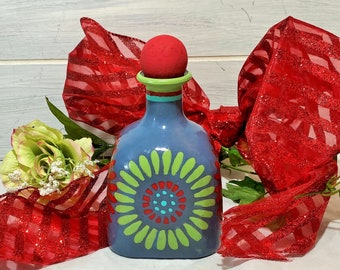 Painted Bottle in Dark Gray, Blown Glass Altered Bottle, Mexican Tile Daisy Motif in Red and Chartruese, High Gloss Boho Olive Oil Bottle