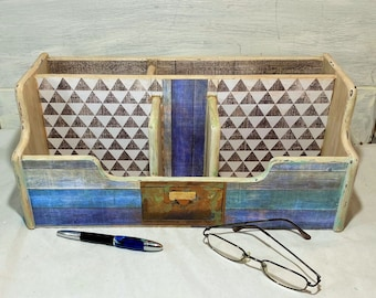 Rustic Mail Holder in Cream Washed Brown and Turquoise, Blue Slats and Wood Triangle Sections, Faux Copper File Tag, Coastal Home Office