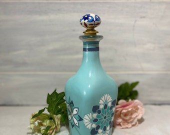 Moroccan Bottle Hand Painted Turquoise, Moroccan Tile Motif Shades of Blue and cream, Moroccan Candle Holder, Housewarming Gift, Boho Chic