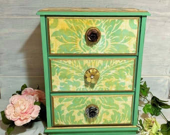 Hollywood Regency Jewelry Box, Boho Jewelry Box, Green Damask Jewelry Cabinet, Large Jewelry Box, Jewelry Dresser Drawers, Gift for Her