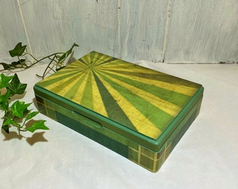 Men's Jewelry Box, Geometric Men's Valet, Moody Shades of Green Desktop Accessories, Vintage Green Gold Stripe and Tile Jewelry Organizer