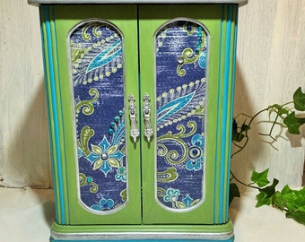 Large Jewelry Box Armoire, Teal Paisley Jewelry Armoire, Boho Jewelry Cabinet, Large Jewelry Box Sparkle Chartreuse Blue Faux Gems, Storage