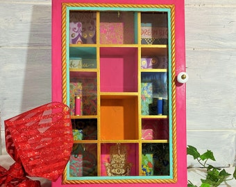 Boho Jewelry Cabinet, Hot Pink Wall Curio Cabinet, Glass Front Jewelry Organizer Wall Mounted, Wood Jewelry Storage Box, Hanging Wall Shelf