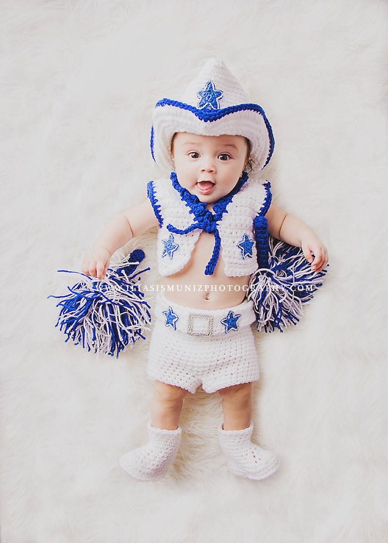 4e41badfe0b Baby Dallas Cowboys Cheerleader Outfit with Pom Poms | Etsy