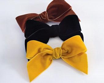 Velvet Bow, 4 inch Bow, Hair Bow, Velvet Headband, Velvet Hair Bows, Velvet Hair Clip, Girls Hair Bows, Headband, Girl Bow Headband, Hairbow