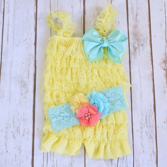5a4ad1353ba3 Cake Smash Outfit Girl Yellow Romper 1st Birthday Girl