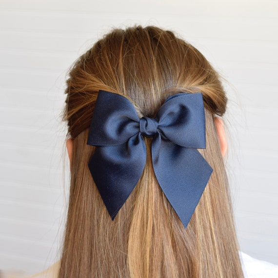 Bow on hair tie for girls fall hair accessories for girls large sailor bow for toddler on hair clip