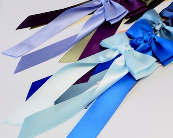 Satin Tie Bow, Satin Barrette Bow, Long Tail Hair Bows, Women Bows, Hair Bows for Girls, Adult Bow, Hair Bows for Women, Hair Bows, Hair Tie