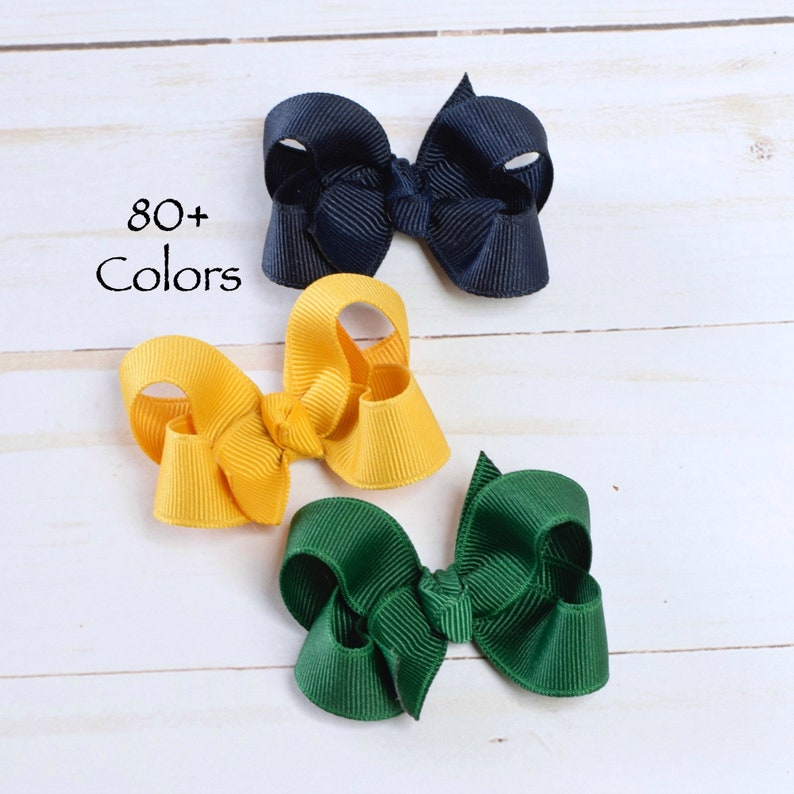 2 Sunshine Yellow Satin Triple Bow Clips for Shoes other colours on request