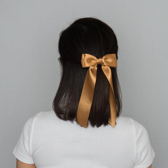 Satin Tie Bow Satin Barrette Bow Long Tail Hair Bows Women | Etsy