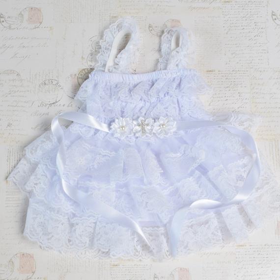 Baby white chiffon flower with a cross wedding lace Baptism Christening Handmade