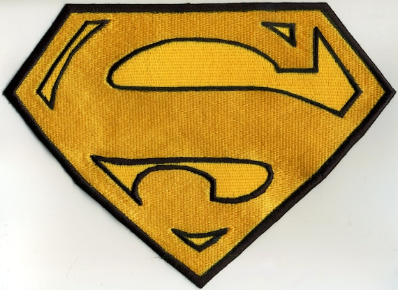 """Black /& White 7/"""" x 10/"""" Fully Embroidered Superman Chest Logo Iron-on Patch"""