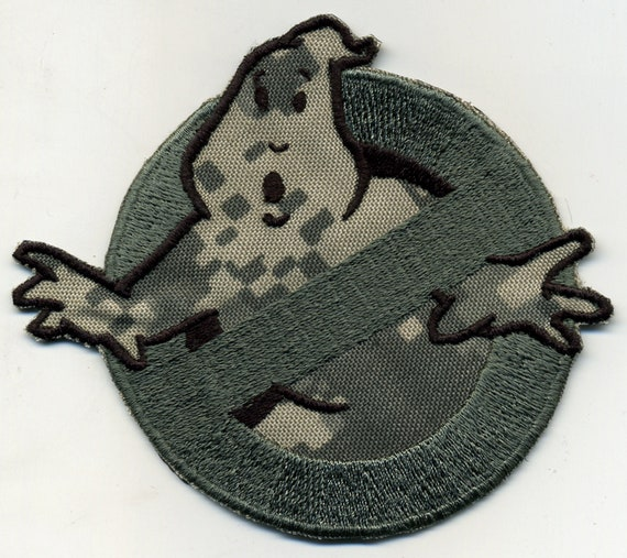 Camouflage Ghostbusters No Ghost embroidered costume patch OD  eaf6a3b0a629