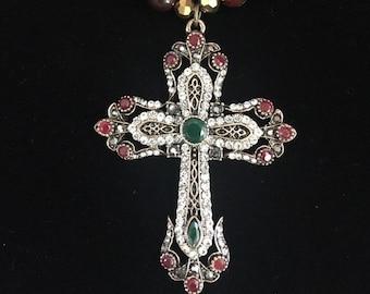 Ornate Cross Necklace, Regal Cross Necklace, Gemstone Necklace, Faith Necklace, Christian Necklace, Inspirational Necklace, Swarovski
