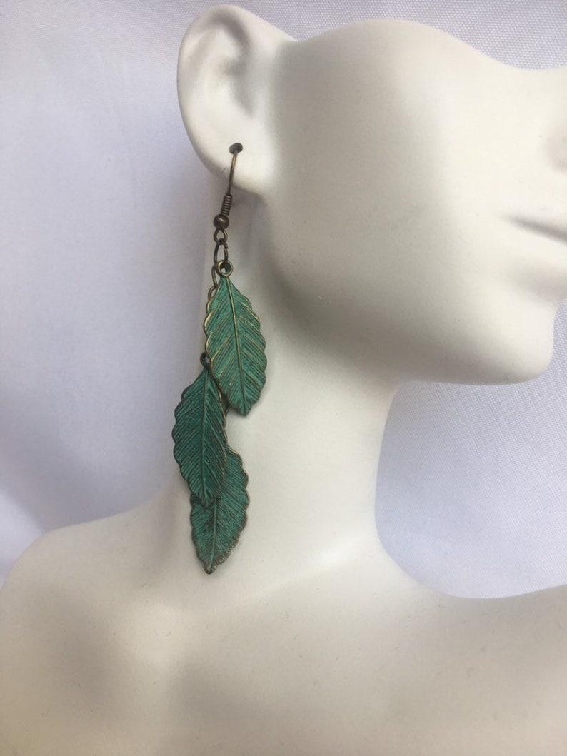 Patina Leaf Dangle Earrings