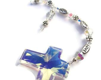 Cross Suncatcher, Faith Hope Inspire, Car Ornament, Rear View Mirror Charm, Car Charm, Sale
