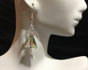 Angel Earrings, Angel Jewelry, Swarovski Angels, Rainbow Angel Earrings, Inspiring Earrings