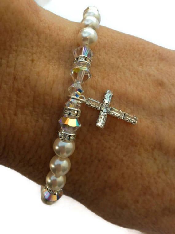 hot-selling newest low cost shop for Swarovski Pearl and Crystal Bracelet, Communion/Confirmation Bracelet,  Swarovski Crystal Cross Bracelet, Faith Bracelet