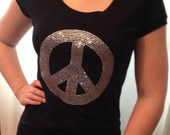 Peace T Shirt size 1x , Rhinestone Shirt, Peace Top, Inspirational T shirt,Sparkle Peace sign Shirt